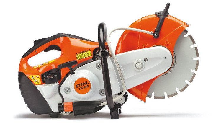 Studio image of a Stihl TS410 cut off saw